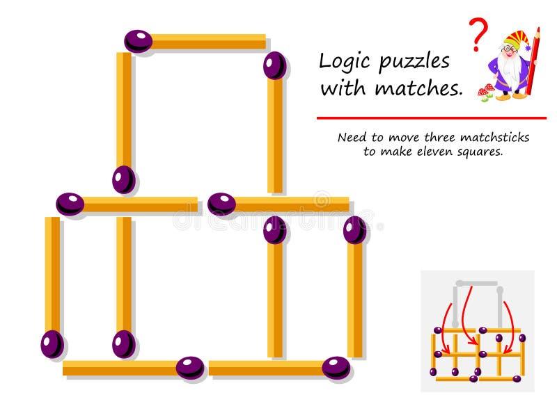 与比赛的逻辑难题比赛 需要移动三火柴梗做十一个正方形 难题书的可印的页 皇族释放例证