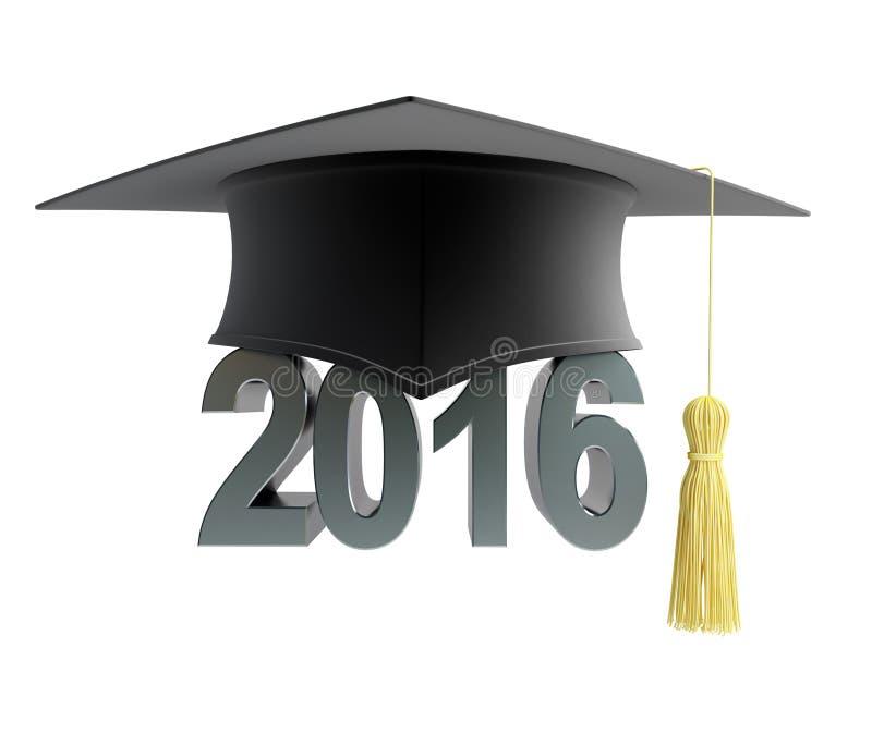 2016与毕业帽子的文本 库存例证