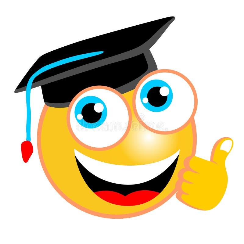 与毕业帽子的滑稽的意思号动画片 向量例证