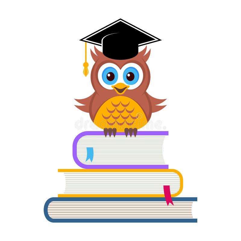与毕业帽子的逗人喜爱的猫头鹰 向量例证