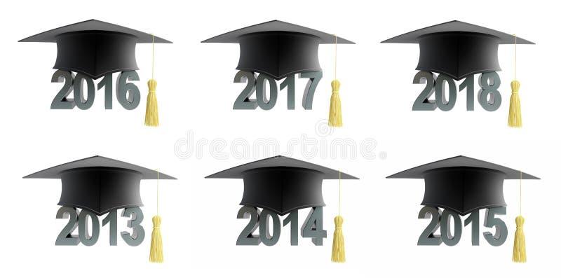 2018与毕业帽子集合的文本 向量例证