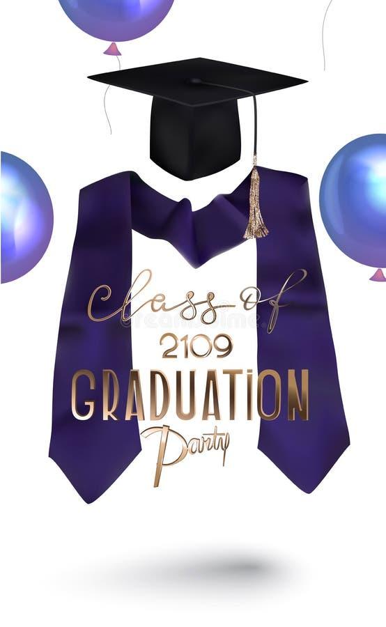 与毕业庆祝对象的毕业派对2019年请帖 向量例证
