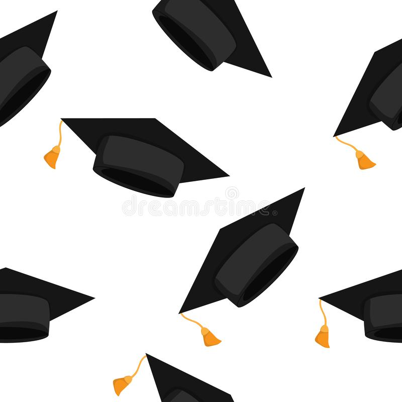 与毕业生盖帽的无缝的样式 也corel凹道例证向量 皇族释放例证