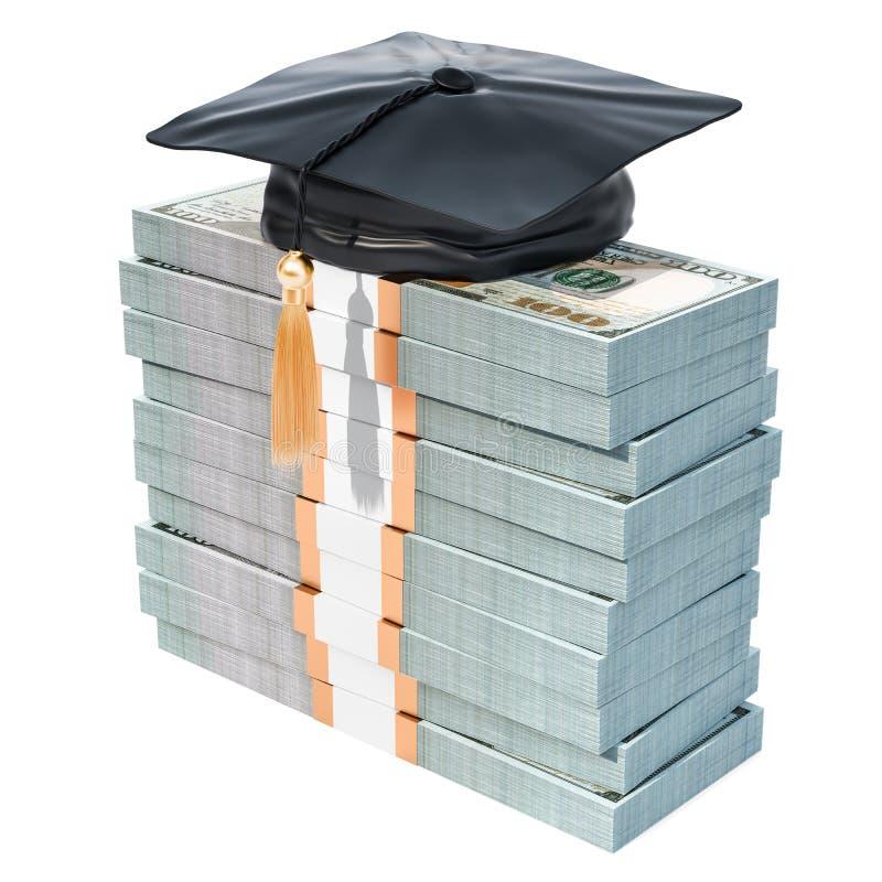 与毕业盖帽的美元组装 教育概念的储款, 向量例证