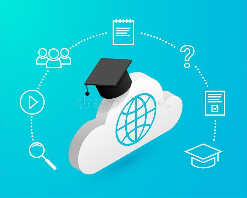 与毕业蓝色盖帽的象的云彩 向量例证