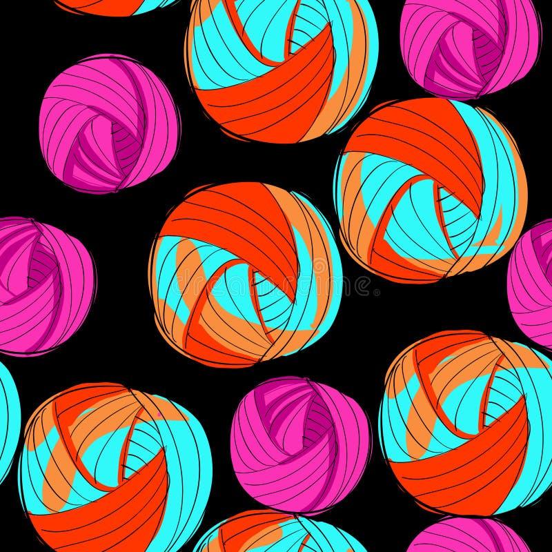 与毛线球的无缝的样式 向量例证