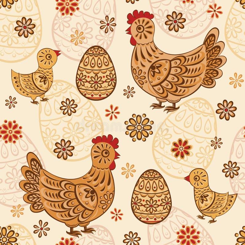 与民间小鸡和鸡蛋的无缝的样式 库存例证