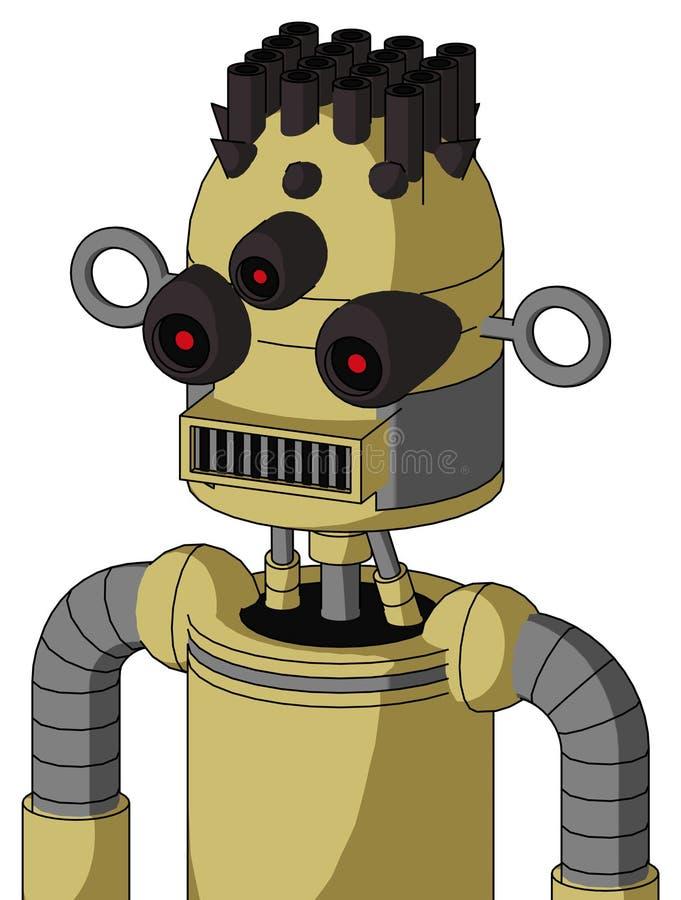 与气包上盖板和方形的嘴和三目和管子头发的黄色Droid 库存例证