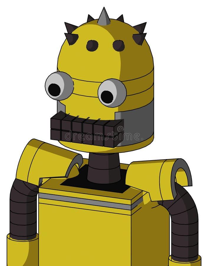 与气包上盖板和键盘嘴和两个眼睛和钉技巧的黄色Droid 皇族释放例证