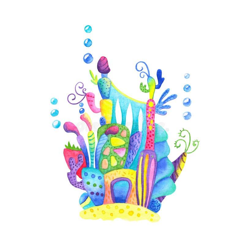 与气泡的水下的城堡在白色背景 美人鱼城堡水彩例证 向量例证