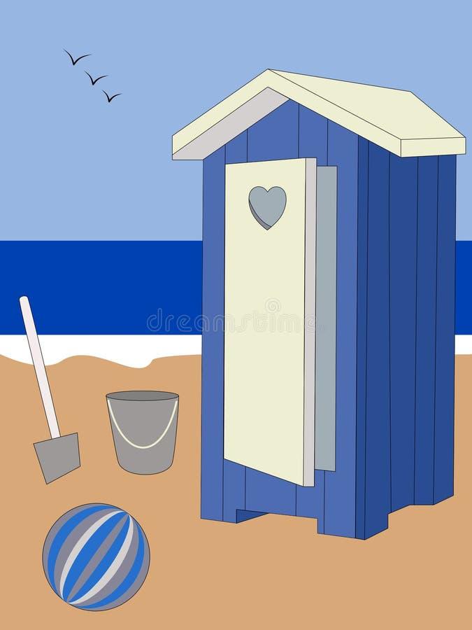 与气球、桶和犁耙的蓝色海滩客舱 库存例证