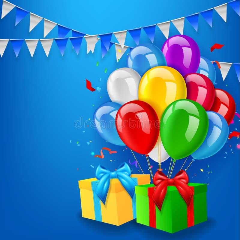 与气球、礼物和五彩纸屑的生日背景 向量例证