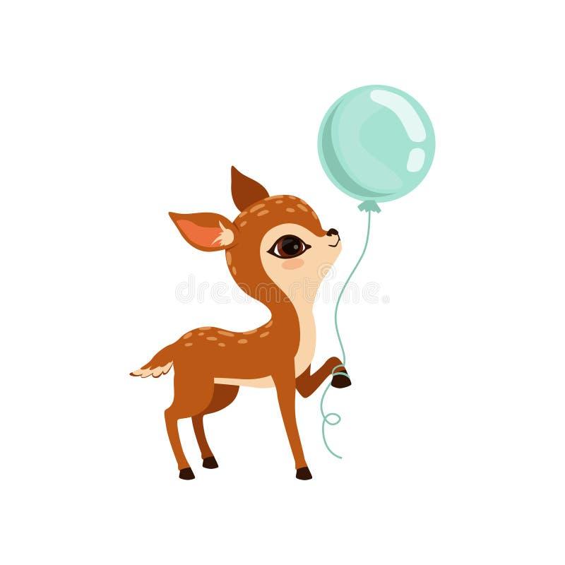 与气球传染媒介例证的逗人喜爱的小的小鹿字符在白色背景 皇族释放例证
