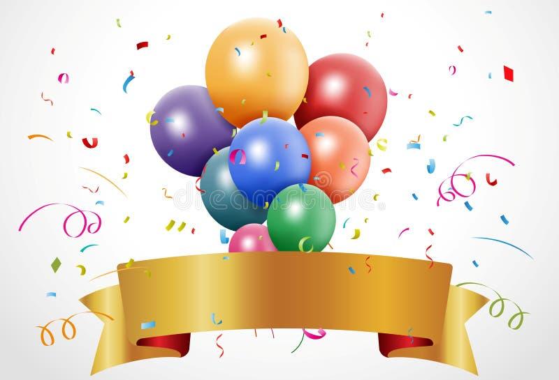 与气球和丝带的五颜六色的生日庆祝 库存例证