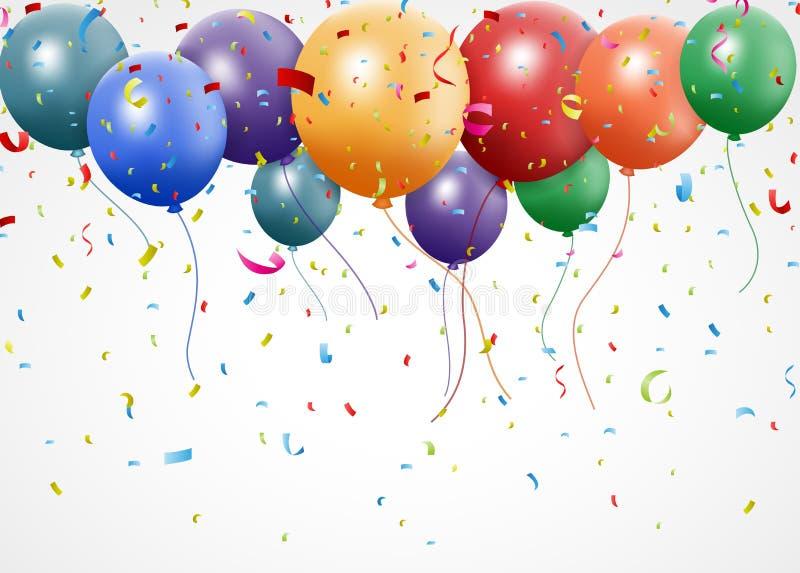 与气球和丝带的新的生日庆祝 向量例证