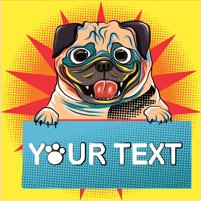 与气球和中间影调样式的滑稽的哈巴狗狗 流行艺术小狗法国牛头犬和气球发短信给传染媒介 向量例证