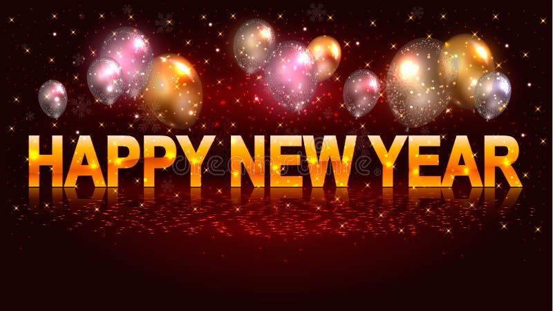 与气球和新年快乐字法的季节性横幅 皇族释放例证