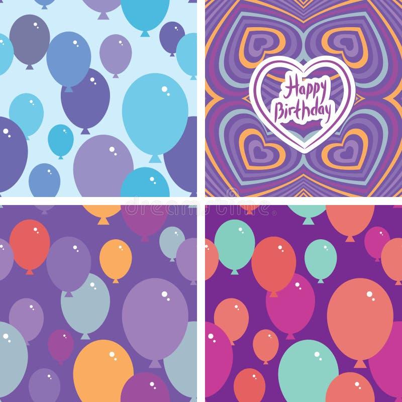 与气球和生日快乐卡片的集合3无缝的样式 紫色,桃红色,蓝色,橙色背景 向量 向量例证