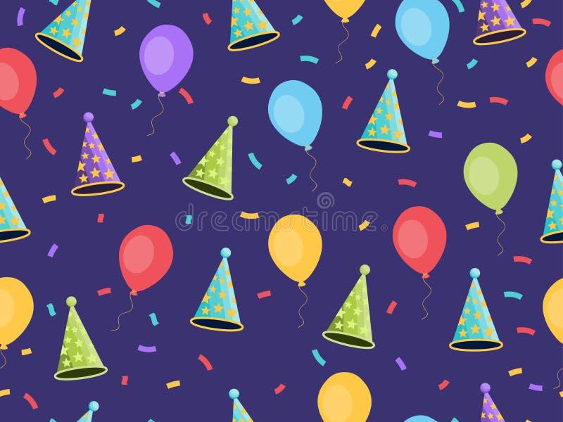 与气球和盖帽,五彩纸屑的无缝的样式 礼物封皮欢乐背景,墙纸,织品 向量 向量例证