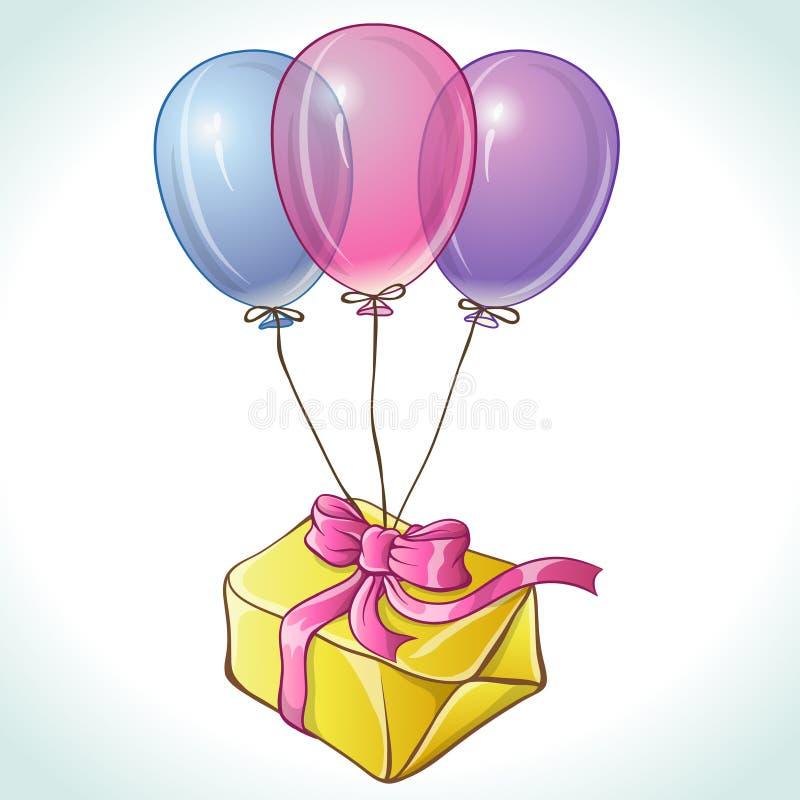 与气球和礼物的生日快乐卡片 库存例证