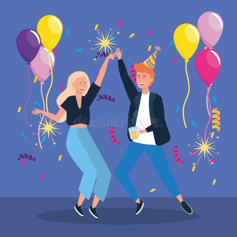 与气球和闪烁发光物烟花的男人和妇女跳舞 皇族释放例证