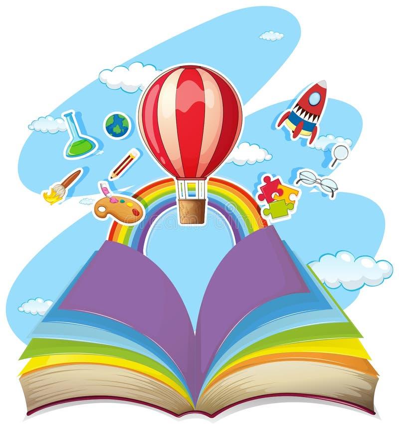与气球的五颜六色的书在天空 皇族释放例证