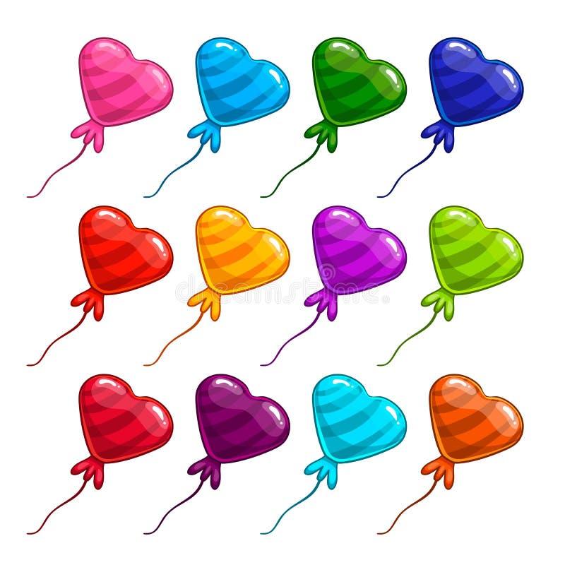 与气球的大集合在形式心脏 向量例证
