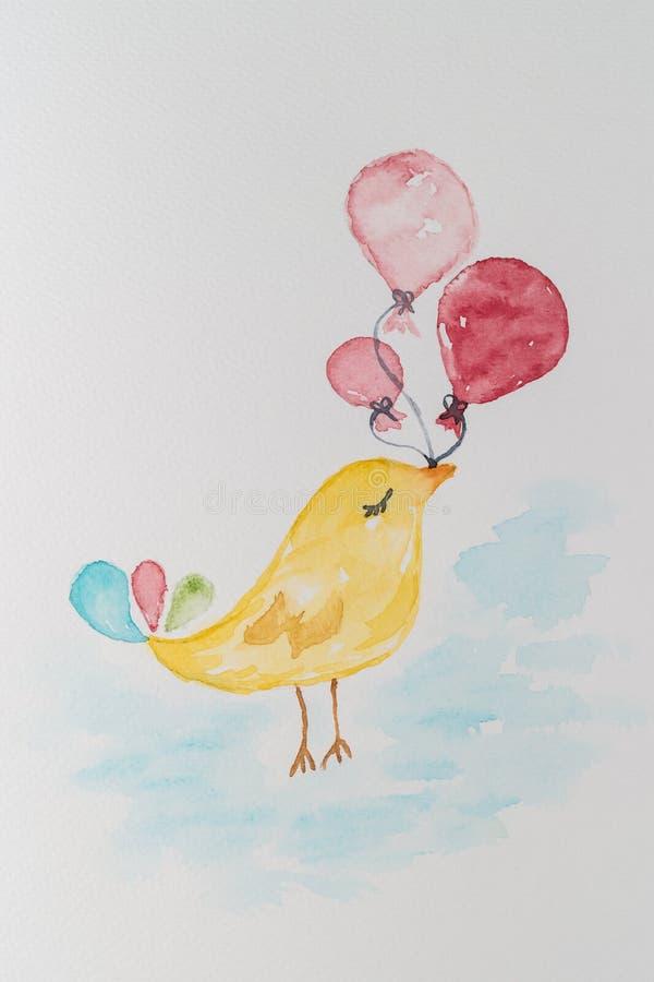 与气球的小的逗人喜爱的鸟 水彩手画illustra 库存例证
