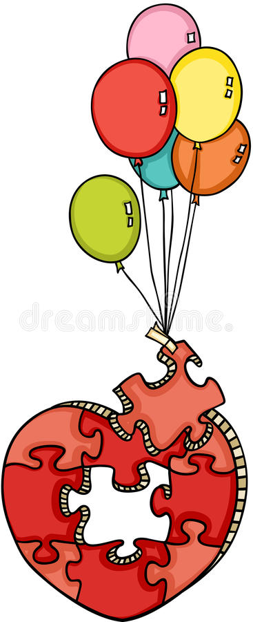 与气球的心形的难题飞行 库存例证