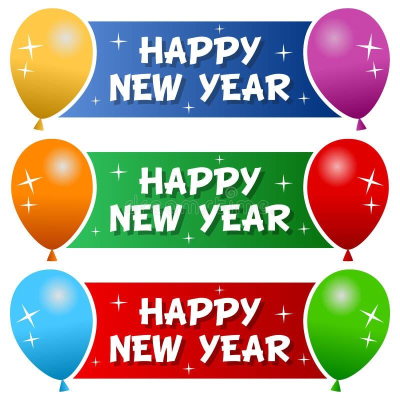 与气球的新年快乐横幅 向量例证
