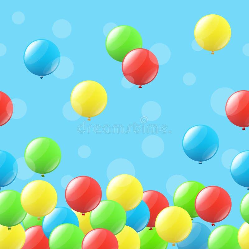 与气球的无缝的背景 库存例证