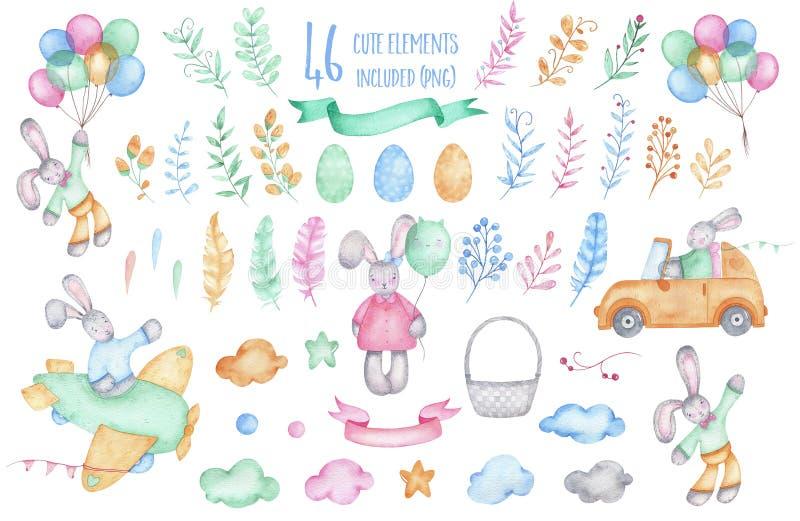 与气球的水彩愉快的复活节汇集小兔 皇族释放例证
