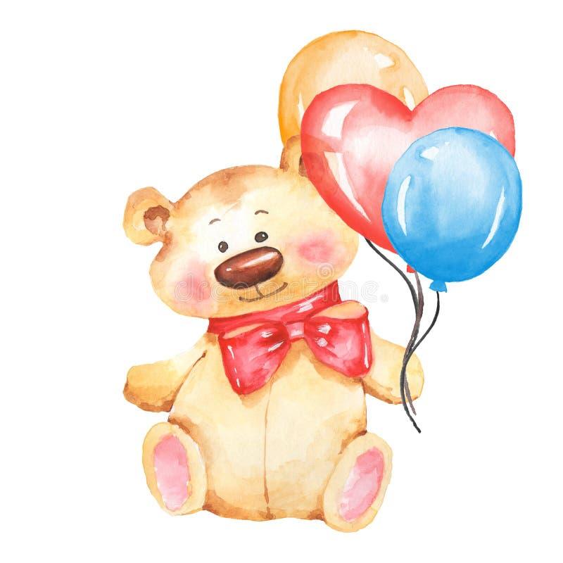与气球的玩具熊 动画片水彩 皇族释放例证