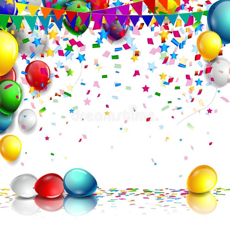 与气球的现实五颜六色的生日背景 库存例证