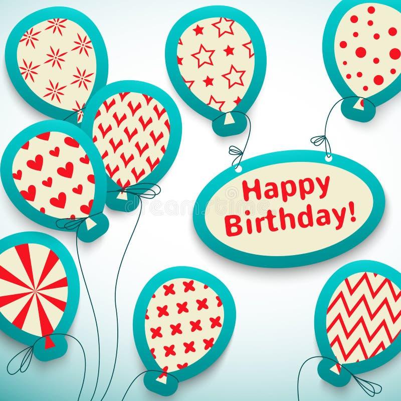 与气球的生日快乐减速火箭的明信片。 皇族释放例证