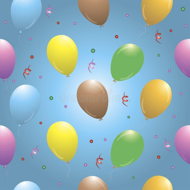 与气球的生日快乐无缝的样式 库存例证