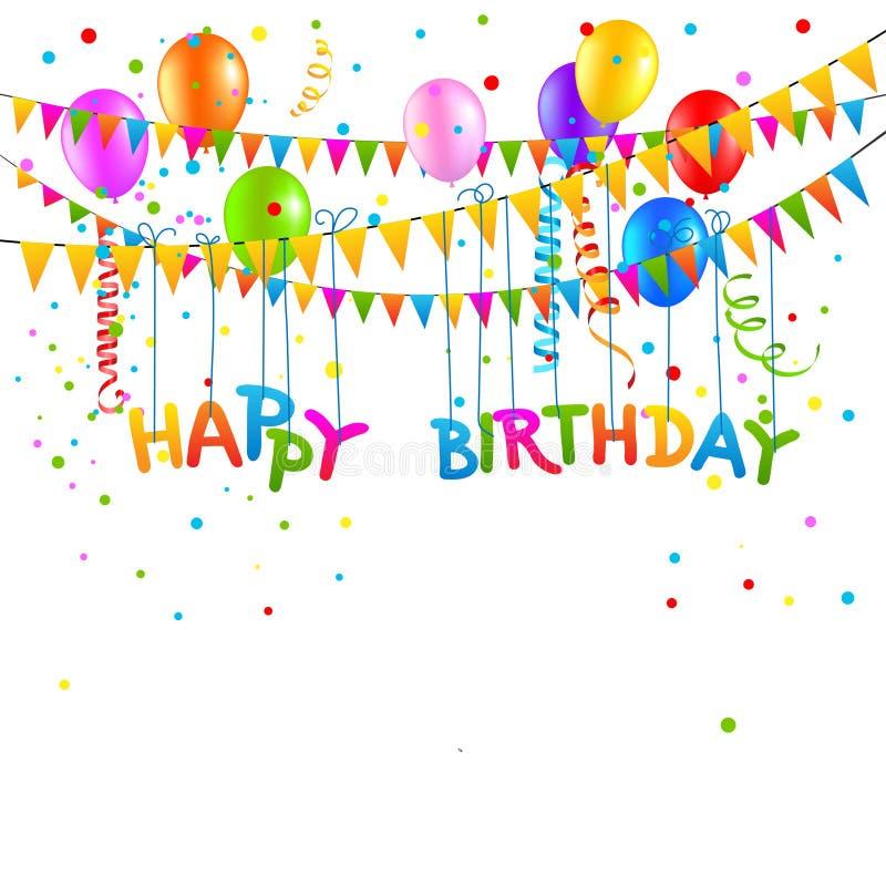与气球的生日快乐背景 皇族释放例证