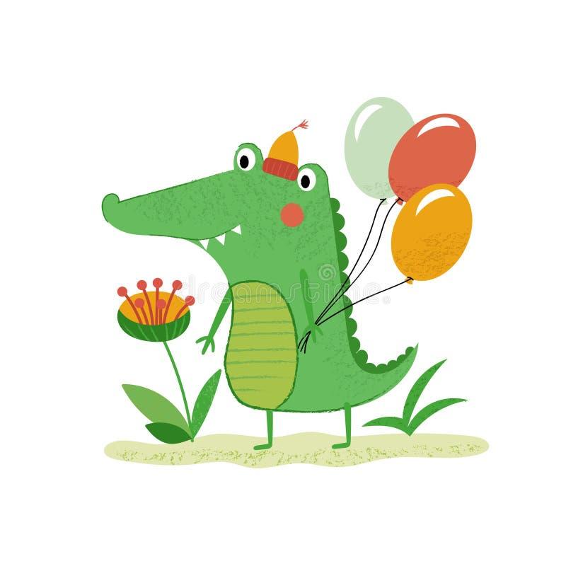 与气球的绿色动画片鳄鱼 向量例证