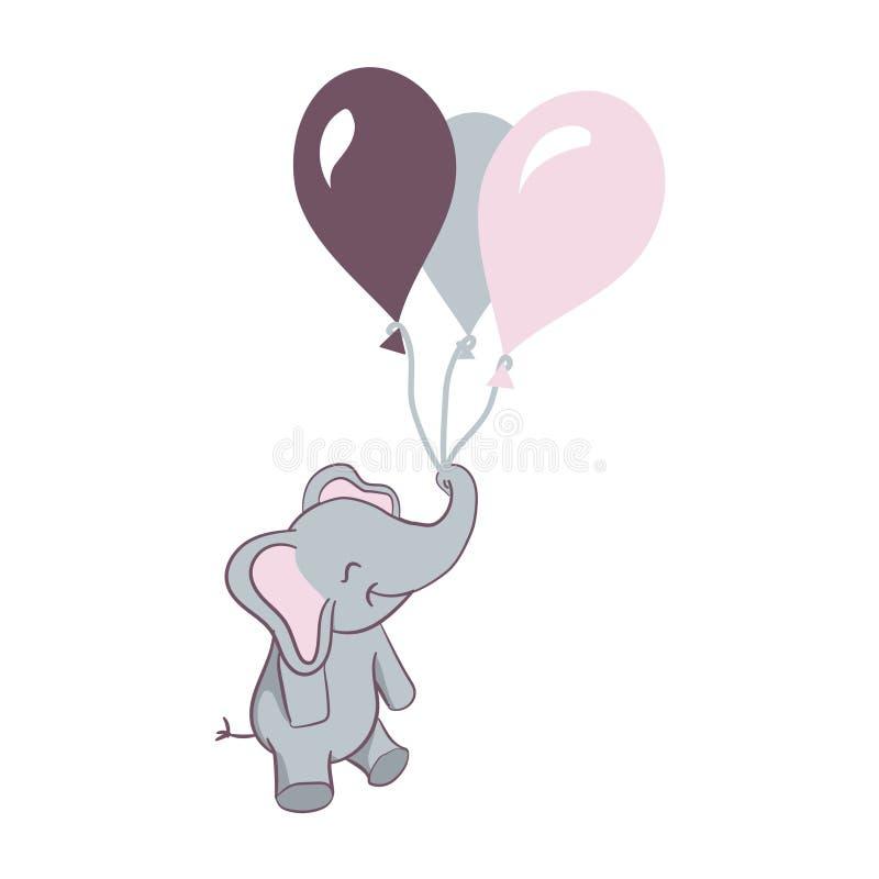 与气球的逗人喜爱的大象 库存例证
