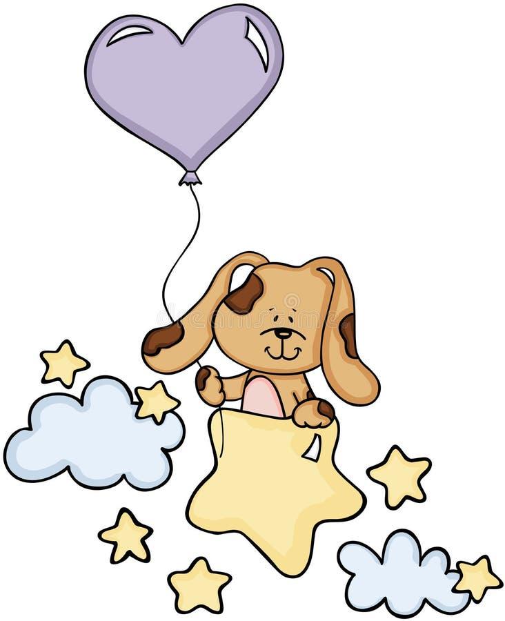 与气球的逗人喜爱的狗在星和云彩 向量例证