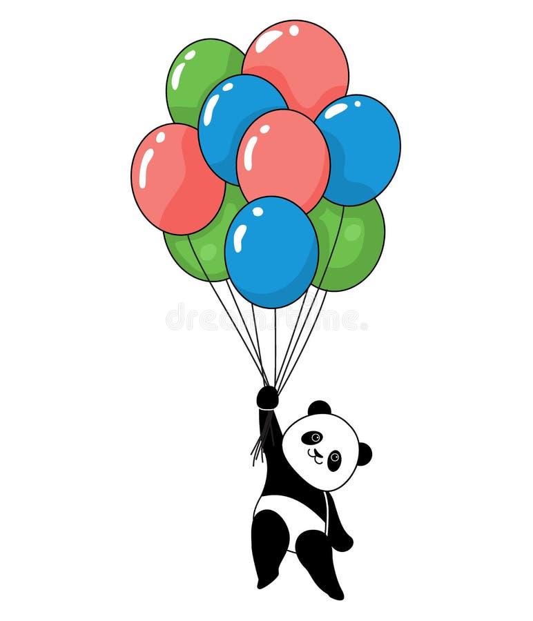 与气球飞行的滑稽的熊猫 库存例证