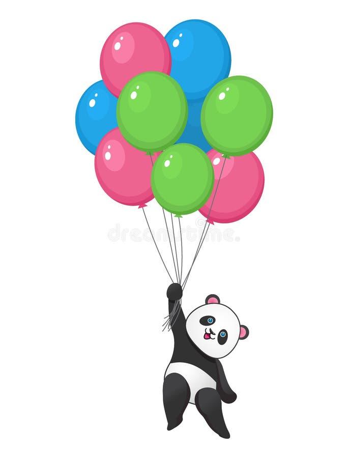 与气球飞行的滑稽的熊猫 向量例证