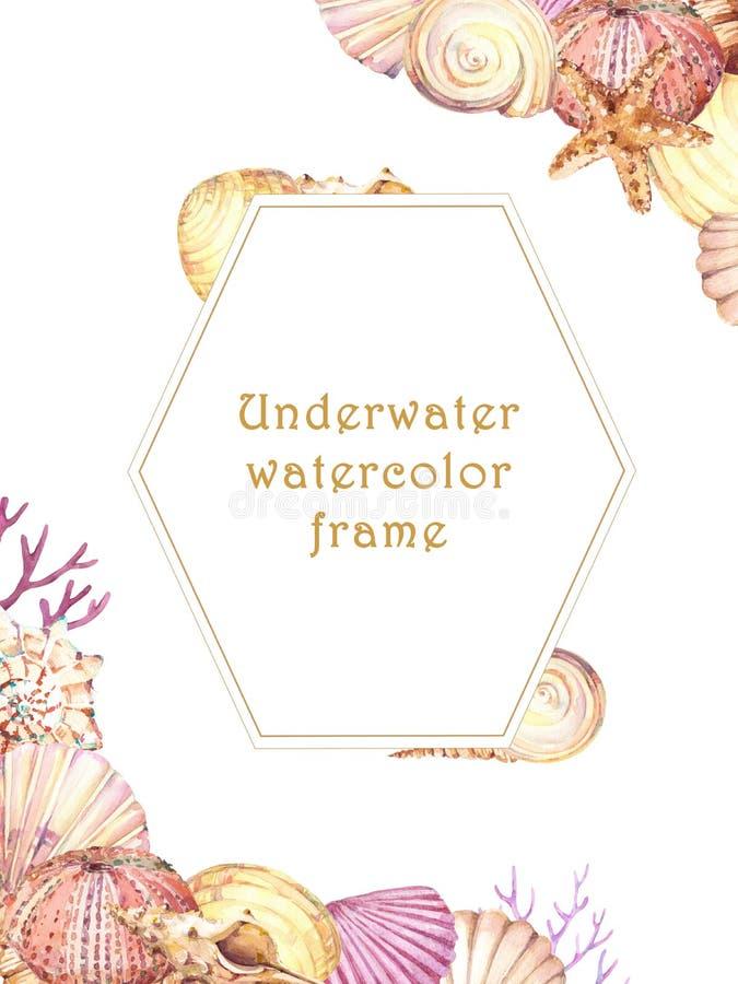与水下的生活对象的手拉的水彩框架 向量例证
