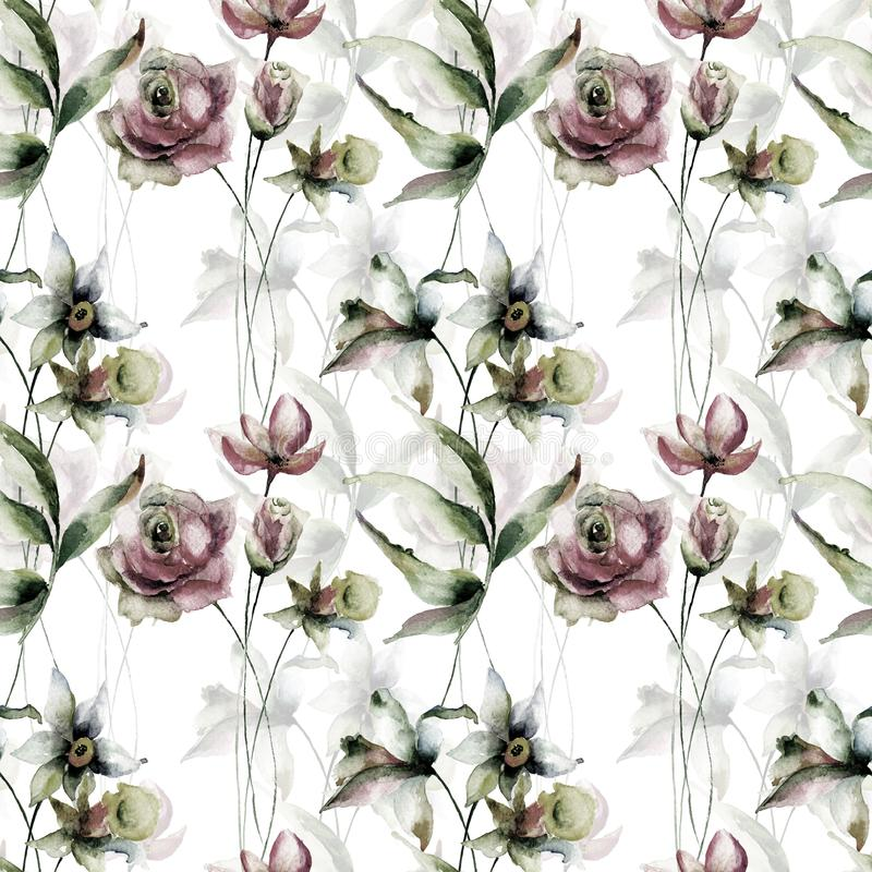 与水仙和玫瑰花的无缝的墙纸 皇族释放例证