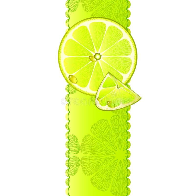 与水多的片式的横幅柠檬果子 向量例证