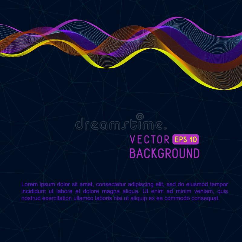与水平的色的波浪线的普遍抽象背景 皇族释放例证