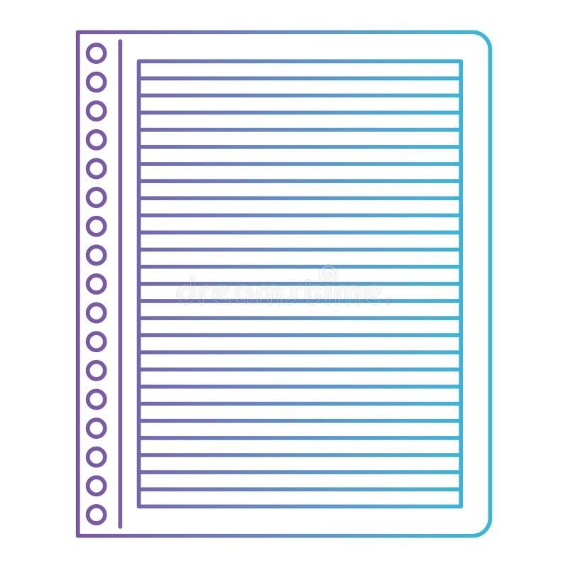 与水平线的笔记本纸在对蓝色等高的被贬低的紫色 库存例证