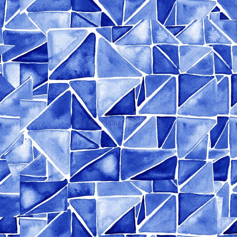 与水彩三角的无缝的样式 手画墙纸 手拉的刷子绘画 包裹的装饰品 库存例证