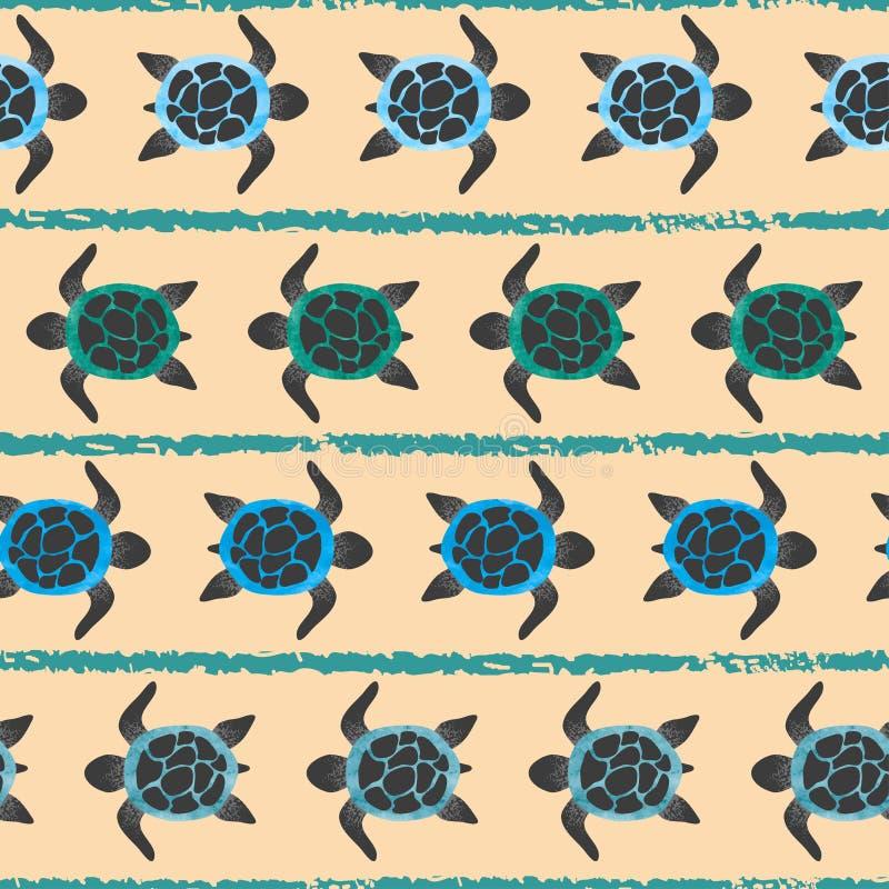 与水彩乌龟的无缝的条纹图形 库存例证