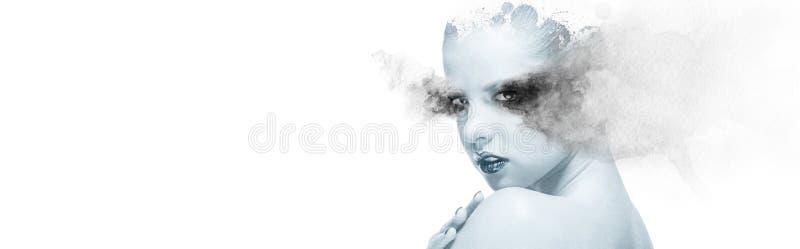 与水彩元素全景图象结合的两次曝光妇女 图库摄影